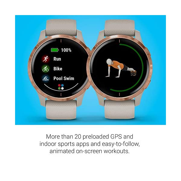 Features Body Energy Monitoring, Animated Workouts, Pulse Ox Sensor and More, Rose Gold with Tan Band  Beautiful, bright AMOLED display and up to five-day battery life in smartwatch mode; up to six hours in GPS and music mode.  Smart Tickers
