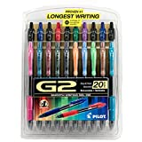 Pilot G2 Retractable Premium Gel Ink Roller Ball Pens, Fine Point, Pack of 20 Assorted Colors -31294