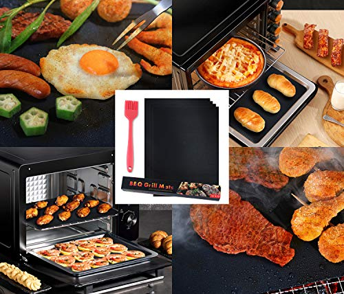bemece BBQ Grill Mat, Set of 10 Non-Stick Heavy Duty Barbecue Baking Mat, Reusable Teflon Cooking Mat Work on Gas, Electric, Charcoal Grill - 15.75 x 13 Inch