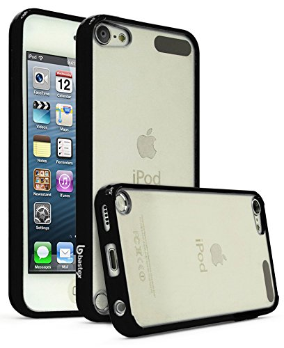 iPod Touch 6, Touch 5 Case, Bastex Crystal Clear Air Fused Rugged Ultra Slim Fit Shockproof Rubberized Plastic Bumper Clear Back Panel Cover Flexible TPU for iPod Touch 6th & 5th Generation (Black) (Rubberized Back Cover)