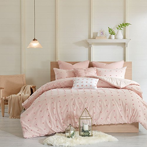 Urban Habitat Brooklyn Comforter Set King/Cal King Size - Pink , Tufted Cotton Chenille Dots - 7 Piece Bed Sets - 100% Cotton Jacquard Teen Bedding For Girls Bedroom