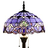 Tiffany Style Floor Standing Lamp 64 Inch Tall Purple Blue Stained Glass Baroque Shade 2 Light Antique Base for Bedroom Living Room Reading Lighting Table Set S003C WERFACTORY
