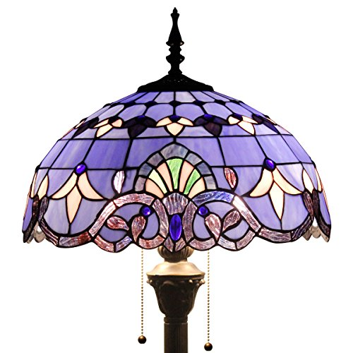 Tiffany Style Reading Floor Lamp Table Desk Standing Lighting Blue Purple Baroque W16H64 Inch (S003C Series) (S003C Series) (Blues Series Lighting)
