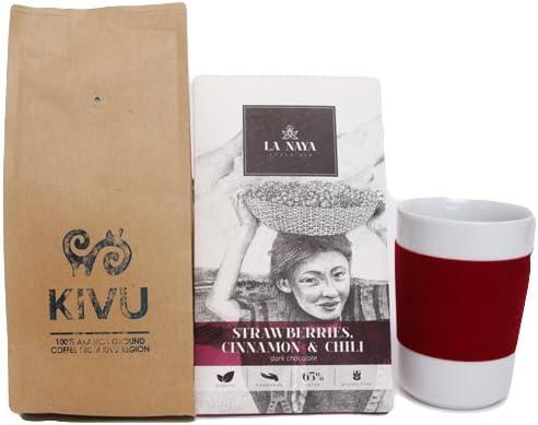 La caja de regalo de navidad del amigo de café (set de navidad de 3 piezas – café molido Kivu 250g + Kahla toca los 5 sentidos taza de café de 350