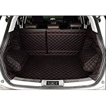 Auto mall Waterproof Custom Fit Full Covered Trunk Mats Cargo Liners Leather Boots Liner Pet Mats for Subaru Forester 2013-2017 (Black with red line)