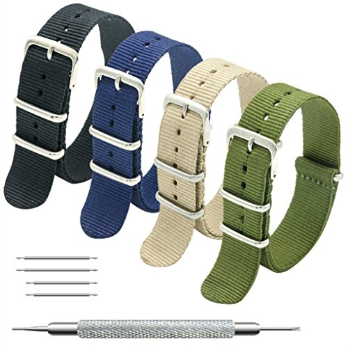 CIVO NATO Strap 4 Packs - 20mm 22mm Premium Ballistic Nylon Watch Bands Zulu Style with Stainless Steel Buckle (Black+Army Green+Navy Blue+Khaki, 24mm) ()