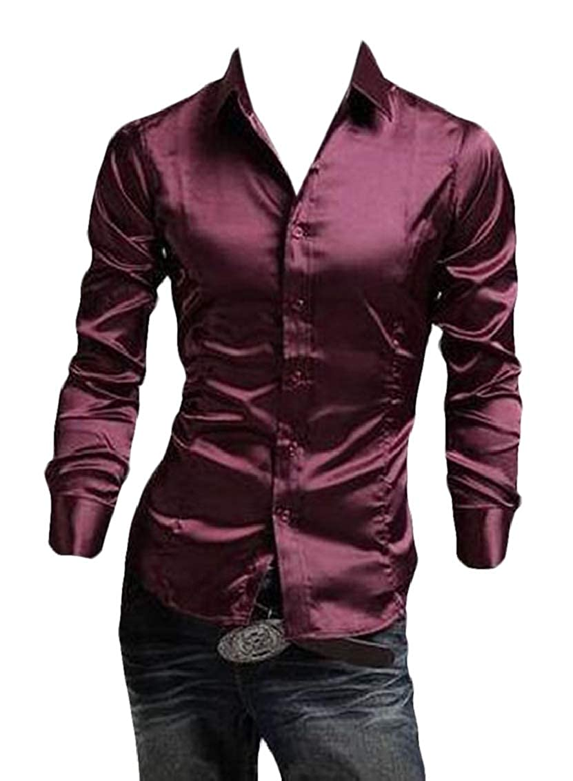 Fubotevic Men Long Sleeve Solid Button Up Casual Slim Fit Satin Shirts