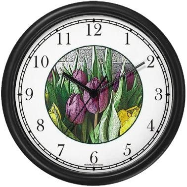 Tulips Flowers Wall Clock by WatchBuddy Timepieces White Frame