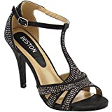 Beston GB39 Women's T-Strap Ankle Stiletto Heels About Half Size Large