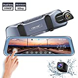 Mirror Dash Cam 9.66'' Dual Lens Full Touch Screen Stream Media Rear View Mirror Camera Made of Aluminum Alloy, 1080P 170°Front and 1080P 140°Backup Camera with Parking Monitor and G-Sensor