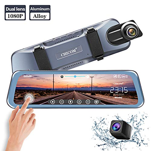 Mirror Dash Cam 9.66'' Dual Lens Full Touch Screen Stream Media Rear View Mirror Camera Made of Aluminum Alloy, 1080P 170°Front and 1080P 140°Backup Camera with Parking Monitor and G-Sensor by CHICOM (Image #8)