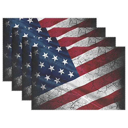 Grunge America Flag Placemats Set of 6 for Kitchen Table Heat Resistant Washable Table Mats ()