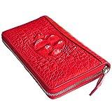CROCUST Luxury Crocodile Leather Women's Wallet Crocodile Skin Clutch Wallet Designer Long Purse