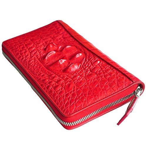 CROCUST Luxury Crocodile Leather Women's Wallet Crocodile Skin Clutch Wallet Designer Long Purse by FOUR-C