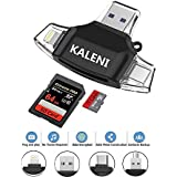 SD Card Reader, USB 3.0 Card Reader Compatible with iPhone/iPad/Android/Micro USB/New MacBook/Type C,with Lightning Charging Adapter, Supports TF, SD, Micro SD, SDXC, SDHC Memory Card Viewer (Black)