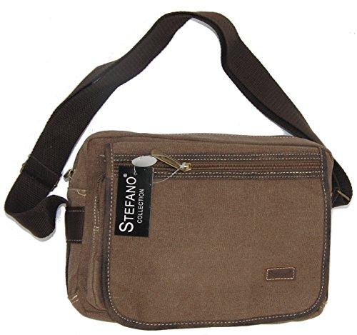 STEFANO Canvas Damentasche Vintage Herren Tasche Schultertasche Umhängetasche Handtasche Rucksack verschiedene Modelle M4 Braun
