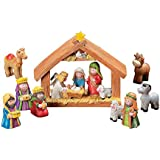 Fun Exprress Mini Christmas Nativity Set Stable with Jesus Mary Joseph Wisemen - 9 Pieces