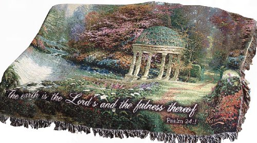 Manual Inspirational Collection Tapestry Throw with Verse, Garden of Prayer by Thomas Kinkade, 60 X (Thomas Kinkade Garden)