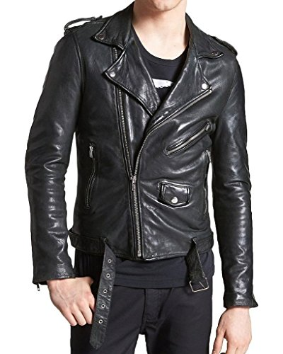 Pristine Leather Men's Bomber Rider Biker Slim Fit Casual Real Leather Jacket Double XL Black
