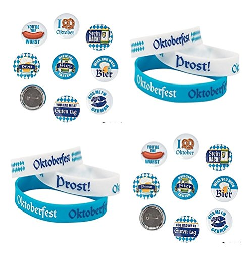 48 PC - Oktoberfest Party Pack - 24- Oktoberfest PINS and 24 - Oktoberfest Bracelets - Bulk Oktoberfest Party Supplies