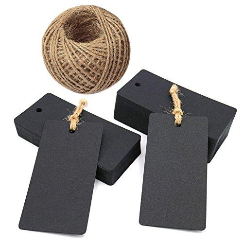 100 PCS Black Kraft Paper Gift Tags,Rectangular Wedding Favor Kraft Hang Tags,Luggage Tags with 100 Feet Jute Twine