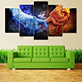 [LARGE] Premium Quality Canvas Printed Wall Art Poster 5 Pieces / 5 Pannel Wall Decor Fire And Ice Love Painting, Home Decor Pictures - With Wooden Frame