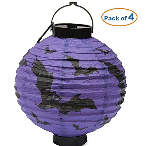 [BIGBAG(TM) Pack of 4 Halloween Decorations LED Pumpkins Lantern Spider Bat Skeleton Hanging Lamp Paper Lanterns Light Decoration Party Bar Decoration Lawn Garden Tree Decorations (Purple] (Spider Costume Pattern Free)