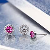 200-Ct-Round-6mm-Pink-Created-Sapphire-Silver-Removable-Jacket-Stud-Earrings