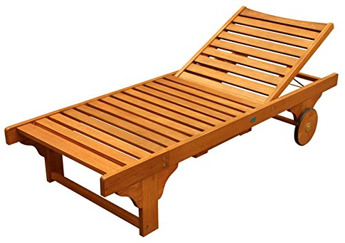 - LuuNguyen Lindy Outdoor Hardwood Chaise Lounge, Natural Wood Finish