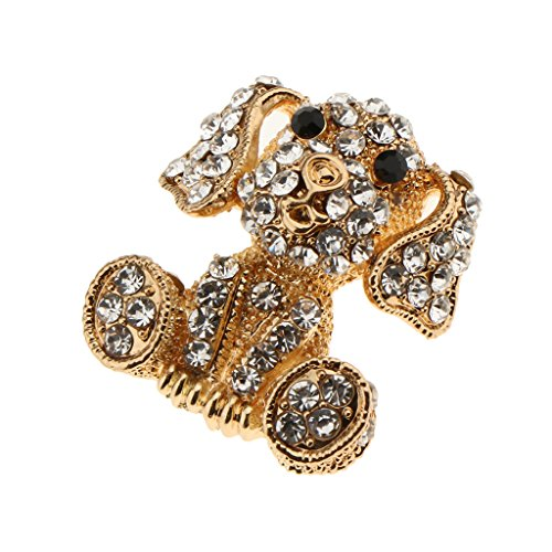 Homyl Rhinestone Dog Brooch for women Crystal Animal Vintage Brooches Hijab Pins - Gold