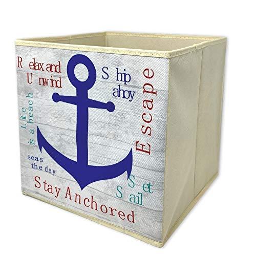 BANBERRY DESIGNS Nautical Collapsible Storage Bin Beach Anchor Themed Storage Box - Blue Anchor Design - 12