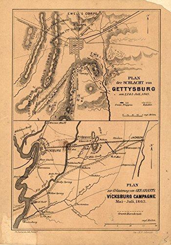 Vintage 1863 Map of Plan der Schlacht von Gettysburg am 1, 2 & 3 Juli, 1863.-Plan zur Erlauterung von Gen. Grant's Vicksburg Campagne Mai-Juli, 1863 Gettysburg, Mississippi, Pennsylvania, United States, Vicksburg