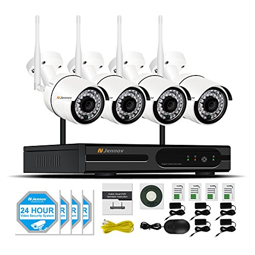 Security Camera System Wireless, Jennov 4 Channel Wireless WiFi Security Camera System Home Video Surveillance With 1080P NVR 4PCS 960P Outdoor Cctv IP Network Cameras Motion Detection Remote Cont