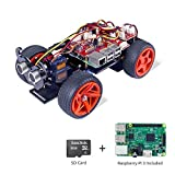 SunFounder Raspberry Pi Smart Robot Car Kit - PiCar-S Block Based Graphical Visual Programming Language Line Following Ultrasonic Sensor Light Following Module Electronic Toy with Raspberry Pi and SD