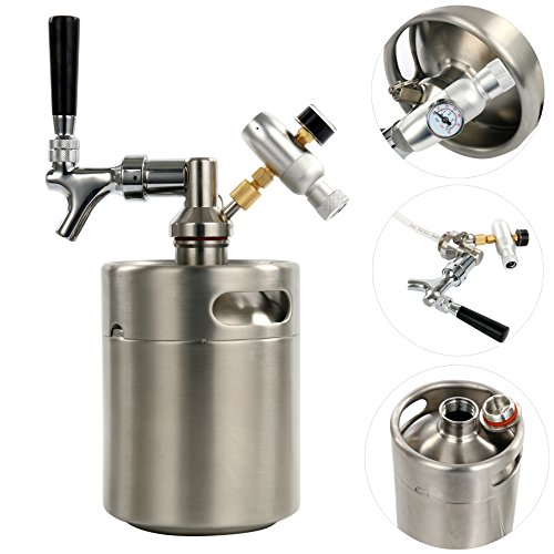 (YaeBrew 64 Ounce Homebrew Keg System Kit for Home Brew Beer - with a Beer Dispensor, Mini CO2 Regulator and a 64 Ounce Stainless Steel Keg)