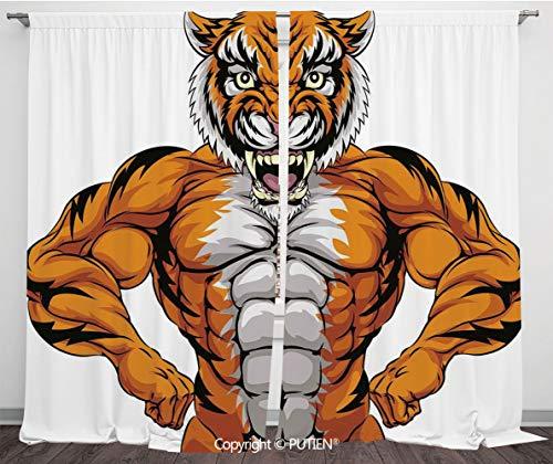 (Satin Window Drapes Curtains [ Animal,Wildlife Safari African Animal Bodybuilder Tiger Cartoon Image,Marigold Light Grey and Black ] Window Curtain Window Drapes for Living Room Bedroom Dorm Room Clas )