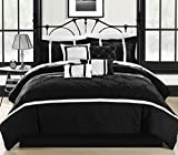 Black and White King Size Comforter Sets Chic Home Vermont 8-Piece Comforter Set, King, Black/White