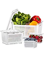 LUXEAR Fresh Containers, 3 PACK 4.5 L+1.7 L+0.5 L Produce Containers, Stackable Vegetable Fruit Containers, Fresh Produce Saver Containers With Vents, Lids, Drain Tray, and Bins, BPA Free Fresh Works Produce Storage Containers for Veggie, Berry, Fruits, and Vegetables, White