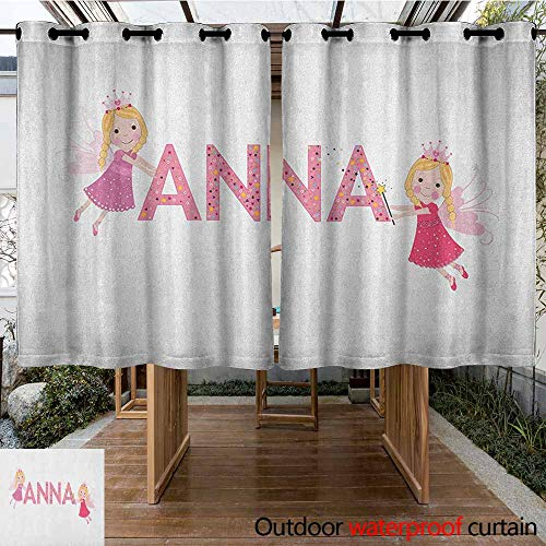 AndyTours Custom Outdoor Curtain,Anna,Traditional Nursery Themed Lettering with Colorful Dots with Fairies Female Children,Insulated with Grommet Curtains for Bedroom,K140C115 - 2 Fairy Ruffle Piece