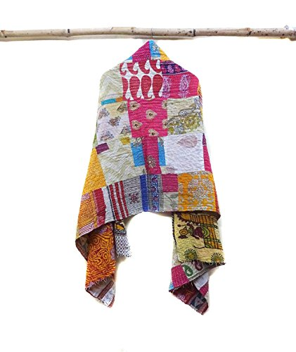 Indian Cotton Kantha Fashion Scarf Reversible Bohemian Handmade Veil Neck Wrap patchwork