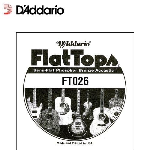 D'Addario FT026 Semi-Flat Phosphor Bronze Acoustic Guitar Single String, .026 (Acoustic Phosphor Bronze Single)