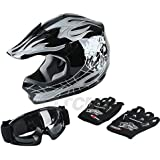 TCMT Dot Youth & Kids Motocross Offroad Street Helmet Motorcycle Youth Helmet Dirt Bike Motocross ATV Helmet+Goggles+Gloves (X-Large, Pattern:black Skull)