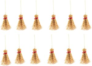 ULTNICE 12pcs Mini Broom Costume Hangings Decorations Toys Straw Broom Wizard Accessory for Halloween Party