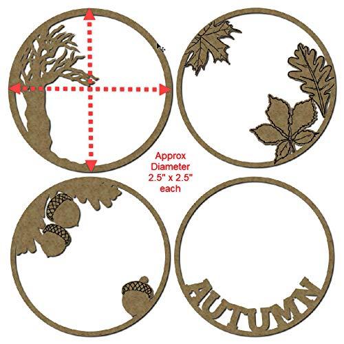 Laser Cut Scrapbook Chipboard 4 Piece Set Autumn Theme Artist Trading Coins