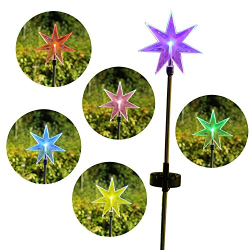 Fashionlite Solar Powered Stake Lawn LED Light Seven Point Star Color Changing LEDs Outdoor Decoration