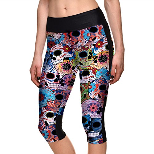 Honeystore Women's 3D Digital Print Capri Workout Leggings Running Yoga Pants Skull 2 XL ()