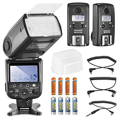 Neewer NW910/MK910 i-TTL HSS LCD Display Speedlite Master/Slave Flash Kit for Nikon DSLR Cameras include:(1)NW910/MK910 Flash+(2)RC10N TTL HSS Wireless Flash Transceiver+(1)Diffuser+(8)Batteriesの商品画像
