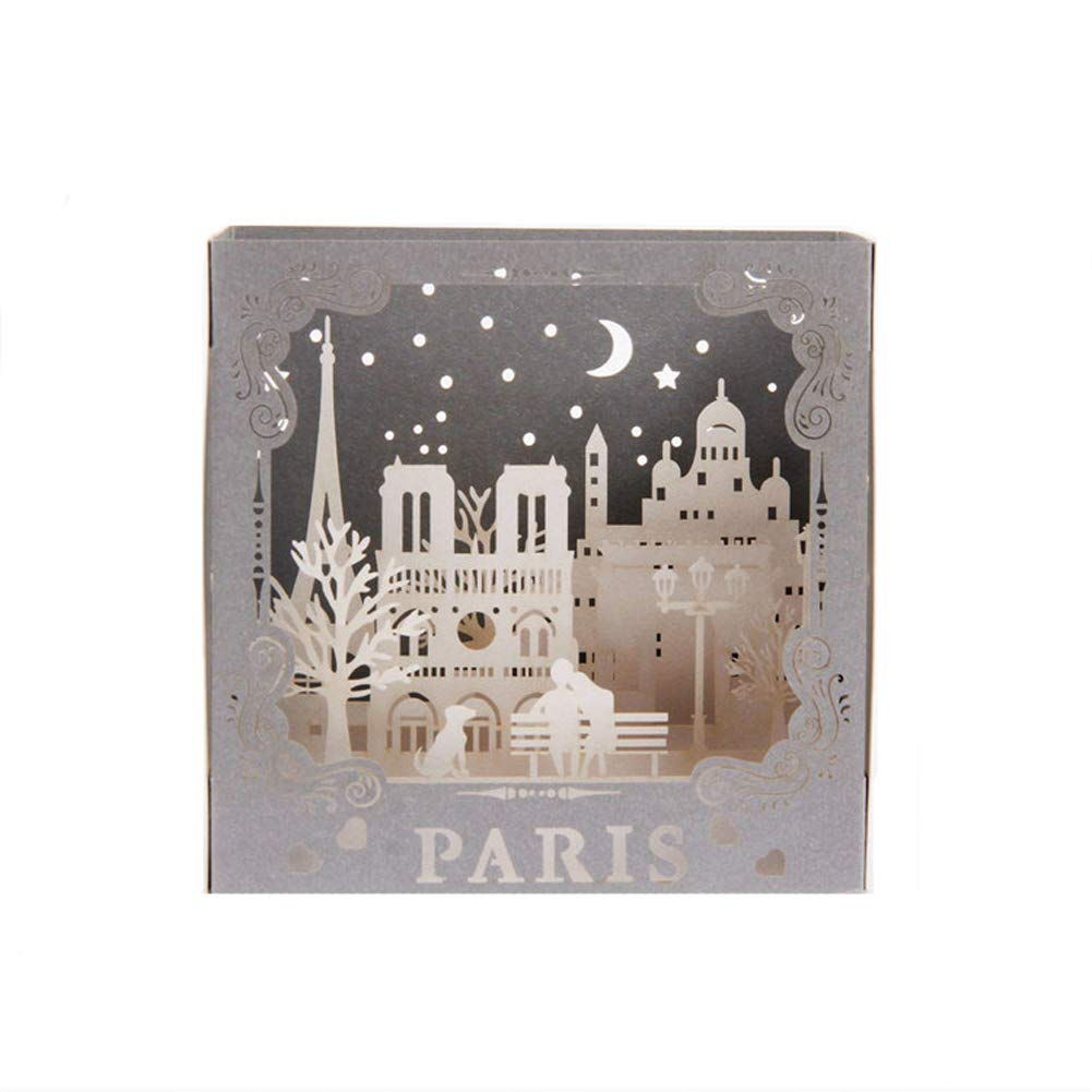 matrimonio festa del pap/à Biglietto di auguri pop up Paris Eiffel laurea per festa della mamma Night in Paris 3D