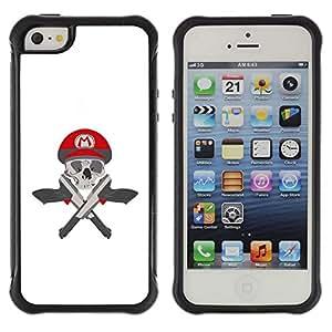 Be-Star único patrón Impacto Shock - Absorción y Anti-Arañazos Funda Carcasa Case Bumper Para Apple iPhone 5 / iPhone 5S ( M Guns Game Pistols Skull White )