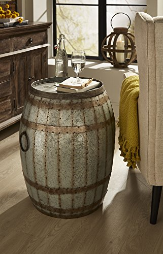 IMAX 88707 Vineyard Wine Barrel Storage Table Vintage Inspired Iron Barrel, Rustic Metal Accent Table, Home Bar Furniture. Bar Cabinets